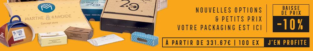 Packaging sur mesure : Baisse de prix -10 % offerts - 331,67 euros les 100 exemplaires