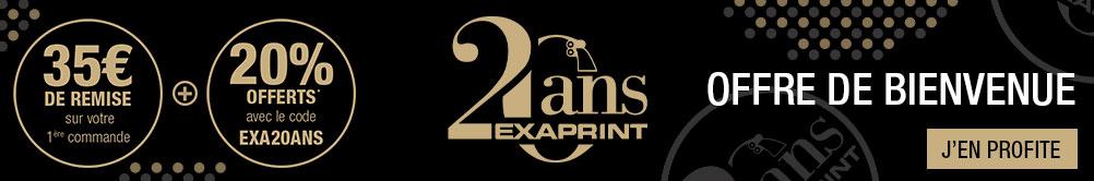 20 ans d'Exaprint : Profitez de 35 euros sur votre 1ère commande ansi que 20% offerts* avec le code EXA20ANS