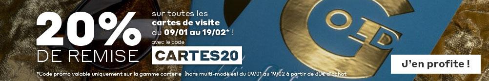 -20% sur toutes les cartes de visite du 09/01 au 19/02* avec le code CARTES20 !