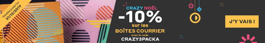 Crazy Noel -10% sur les boîtes courrier Prix Promotion valable du 1/12/2019 au 31/12/2019 avec le code CRAZY3PACKA