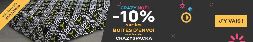 Crazy Noel -10% sur les boîtes d'envoi Promotion valable du 1/12/2019 au 31/12/2019 avec le code CRAZY3PACKA